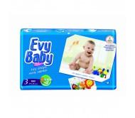 EVY BABY Bebek Bezi Kremli İkiz Paket Midi 3 Beden (5-9 kg) 50`li