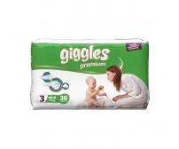 Giggles Premium Bebek Bezi Midi 3 Beden (5-9 kg) 36'lı