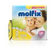 MOLFİX Bebek Bezi Dev Ekonomi Mini 2 Beden (3-6 kg) 100'lü (Islak Mendil Hediyeli)
