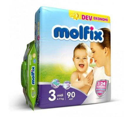 MOLFİX Bebek Bezi Dev Ekonomi Midi 3 Beden (4-9 kg) 90'lı (Islak Mendil Hediyeli)