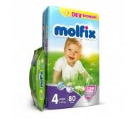 MOLFİX Bebek Bezi Dev Ekonomi Maxi 4 Beden (7-18 kg) 80'li (Islak Mendil Hediyeli)