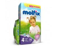 MOLFİX Bebek Bezi Dev Ekonomi Maxi Plus 4+ Beden (9-20 kg) 70'li (Islak Mendil Hediyeli)