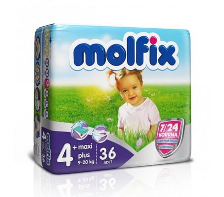 MOLFİX Bebek Bezi 7/24 İkiz Paket Maxi Plus 4+ Beden (9-20 kg) 36`lı