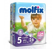 MOLFİX Bebek Bezi 7/24 İkiz Paket Junior 5+ Beden (13-27 kg) 26`lı