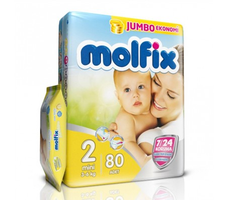 MOLFİX Bebek Bezi Jumbo Paket Mini 2 Beden (3-6 kg) 80`li (Islak Mendil Hediyeli)