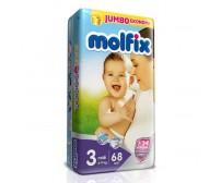 MOLFİX Bebek Bezi Jumbo Paket Midi 3 Beden (4-9 kg) 68`li