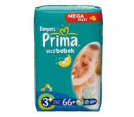 PRİMA Bebek Bezi Aktif Bebek Midi Plus 3+ Beden (5-10 kg) Mega Paket 66`lı