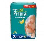 PRİMA Bebek Bezi Aktif Bebek Midi 3 Beden (4-9 kg) Mega Paket 72`li