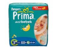 PRİMA Bebek Bezi Aktif Bebek 3+ Beden Midi Plus (5-10 kg) Dev Ekonomi Paketi 88`li