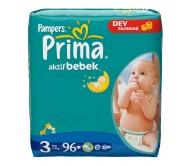 PRİMA Bebek Bezi Aktif Bebek 3 Beden (4-9 kg) Dev Ekonomi Paketi 96`lı