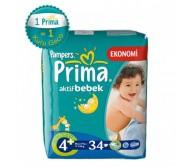 PRİMA Aktif Bebek Maxi Plus İkiz Paket 4+ Beden (9-20 kg) 34'lü