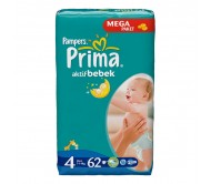 PRİMA Bebek Bezi Aktif Bebek Maxi 4 Beden (7-14 kg) Mega Paket 62`li