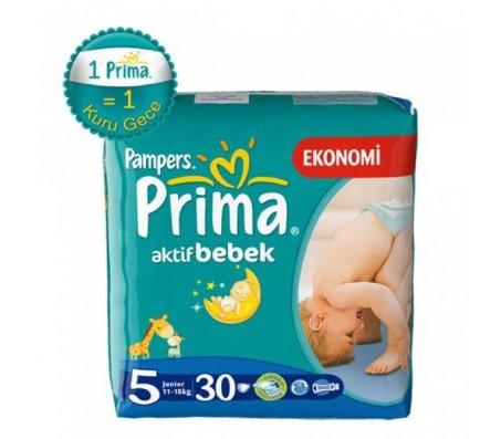 PRİMA Aktif Bebek Junior İkiz Paket 5 Beden (11-25 kg) 30'lu
