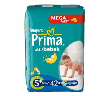 PRİMA Bebek Bezi Aktif Bebek Junior Plus 5+ Beden (13-20 kg) Mega Paket 42`li