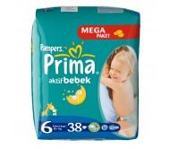 PRİMA Bebek Bezi Aktif Bebek Extra Large 6 Beden (15+ kg) Mega Paket 38`li