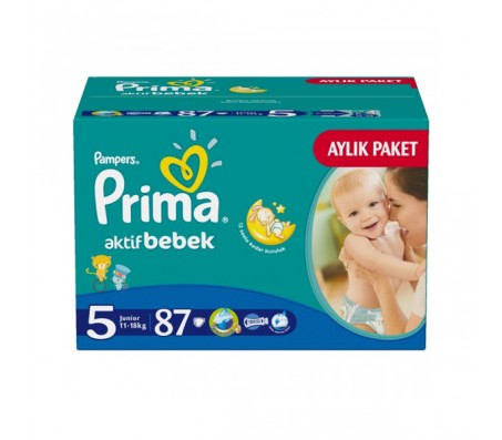 PRİMA Bebek Bezi Aktif Bebek Junior Aylık Paket 5 Beden (11-18 kg) 87'li