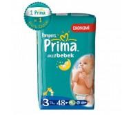 PRİMA Bebek Bezi Aktif Bebek Midi İkiz Paket 3 Beden (4-9 kg) 48'li