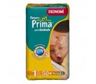 PRİMA Bebek Bezi Yeni Bebek 1 Beden (2-5 kg) Yenidoğan Ekonomi Paketi 50`li