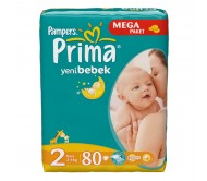 PRİMA Bebek Bezi Yeni Bebek Mini 2 Beden (3-6 kg) Mega Paket 80`li